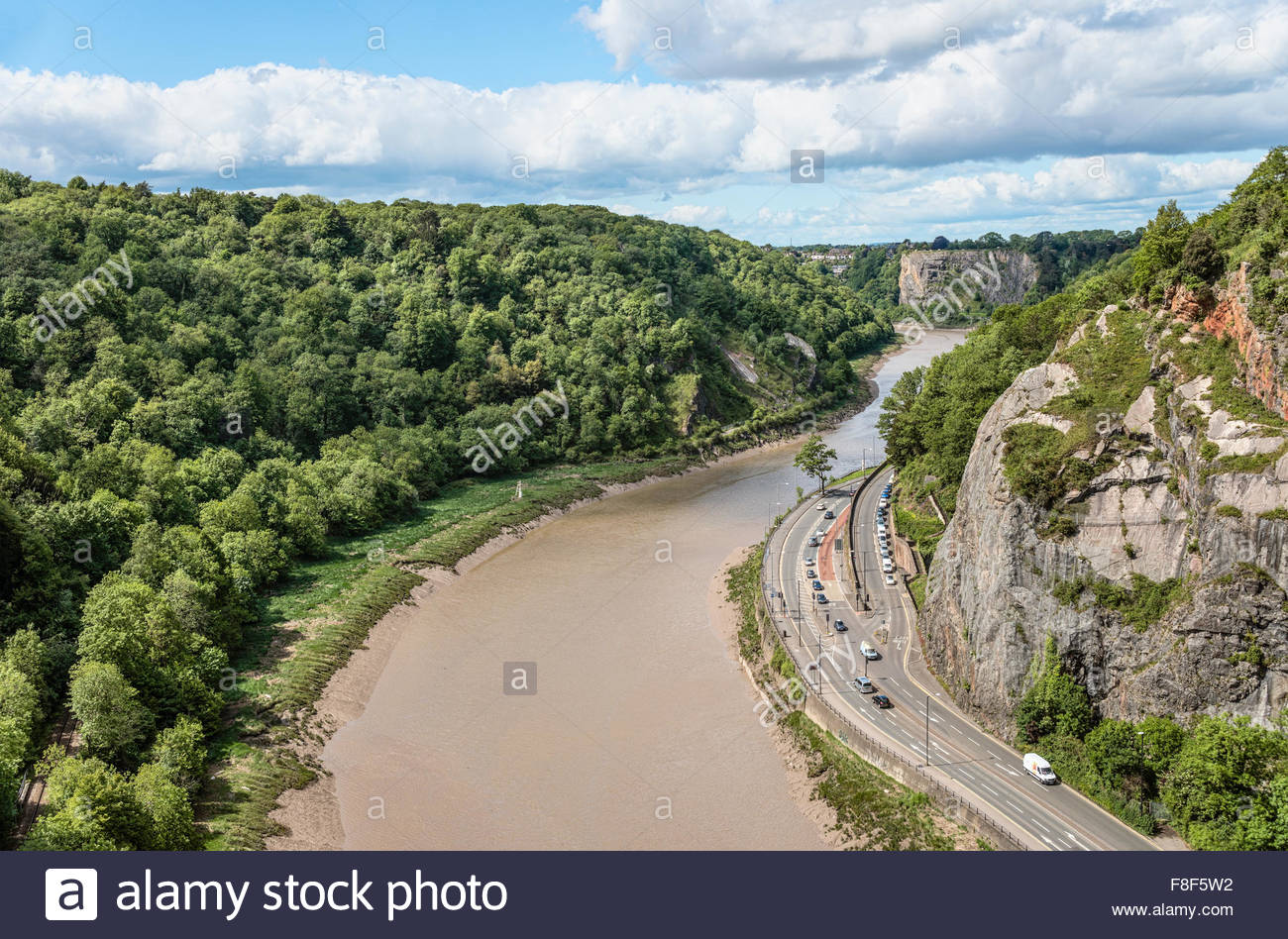 View from the Clifton Suspension Bridge into the Avon River Valley, Bristol, Somerset, England - Stock Image
