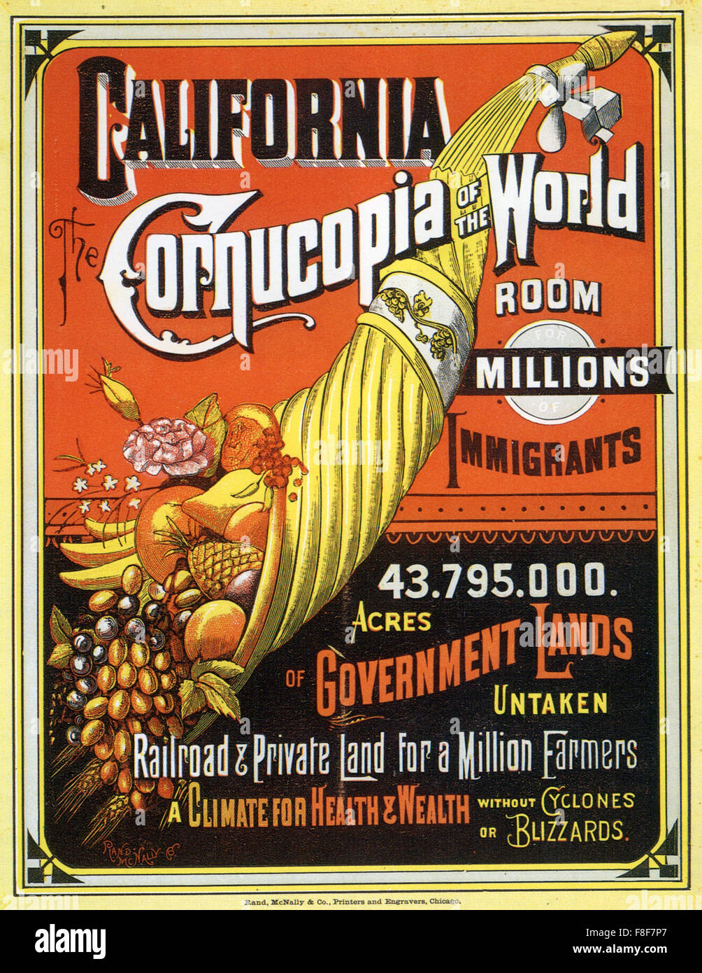 CALIFORNIA - THE CORNUCOPIA OF THE WORLD  Poster published in 1883 extolling the virtues of free land, climate and - Stock Image