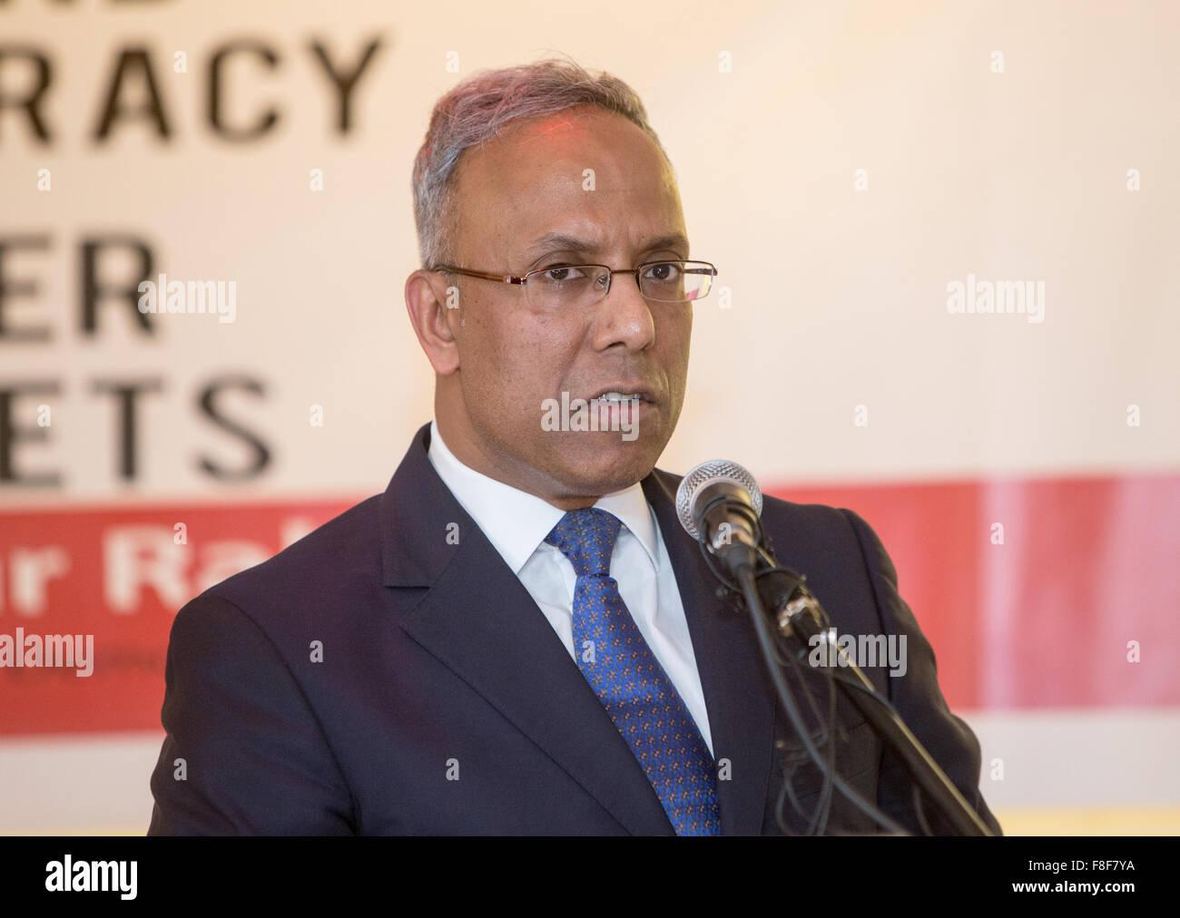 Lutfur Rahman,former Mayor of Tower Hamlets,speaks at an event in Whitechapel - Stock Image