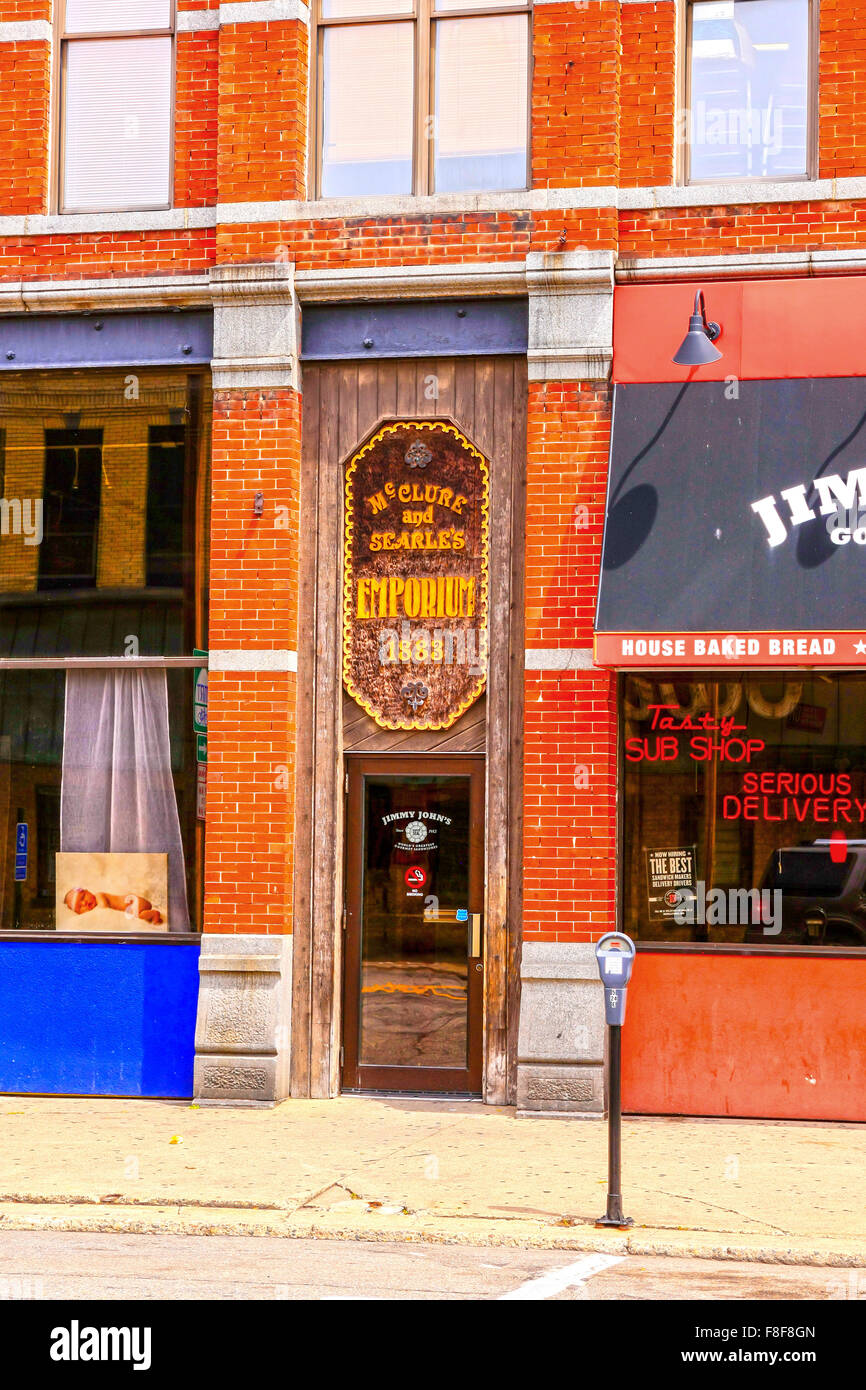 McClure & Searle's Emporium on 5th Ave South in the historic district of downtown St. Cloud Minnesota - Stock Image