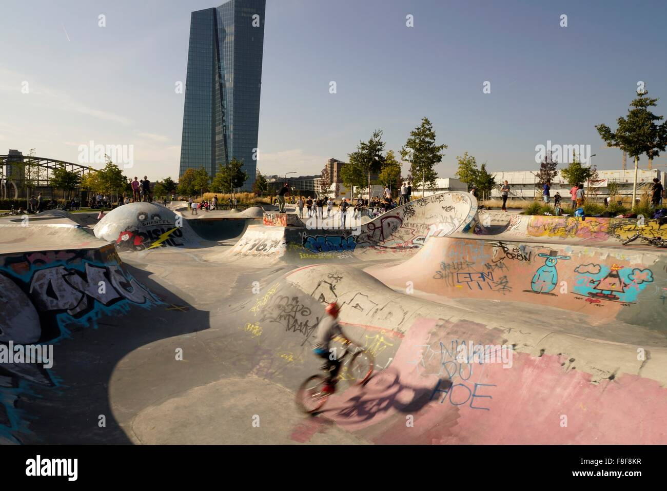 Skatepark At The New European Central Bank, Frankfurt Am Main, Hessen,  Germany,