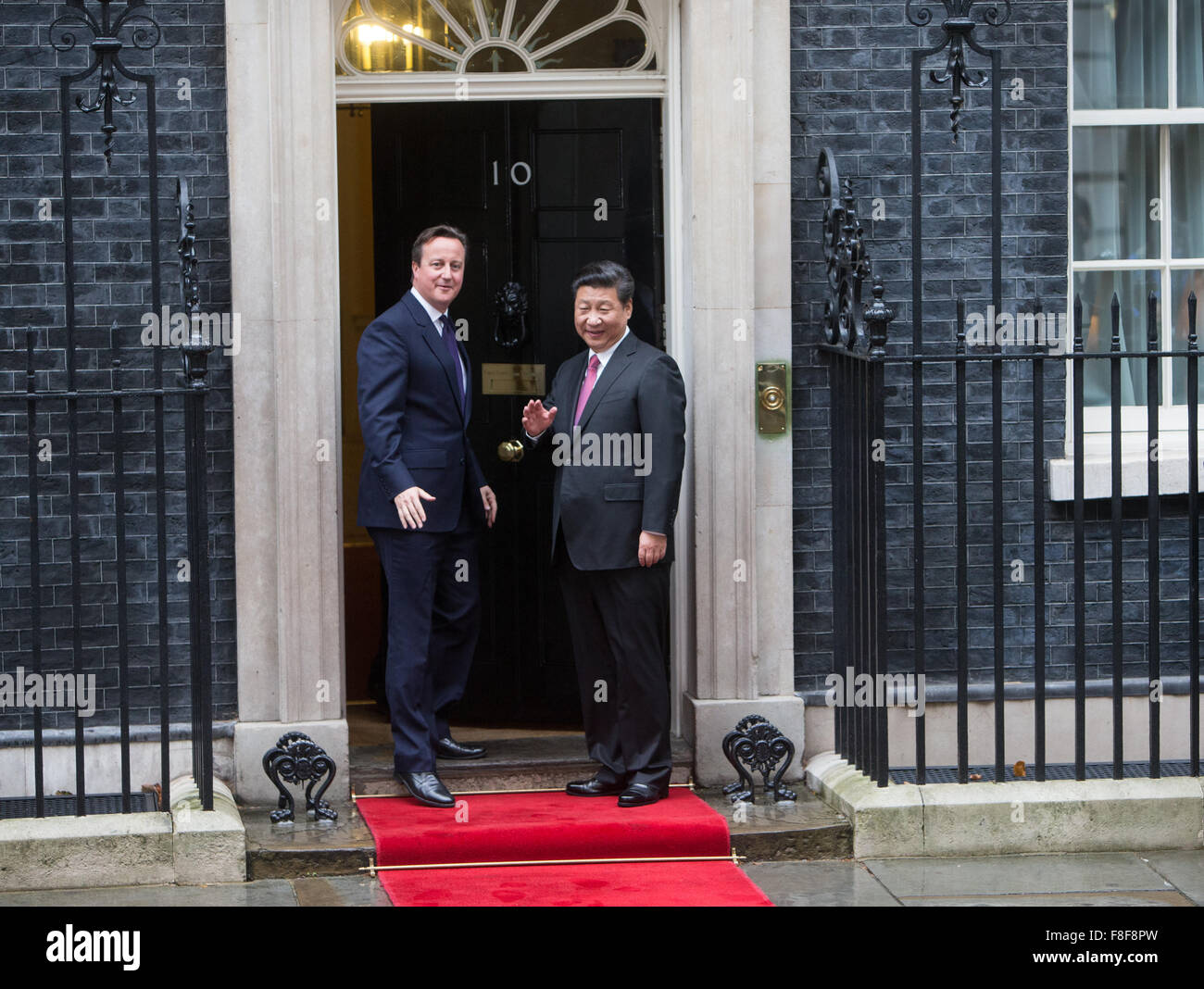 Prime Minister David Cameron and President Xi Jinping of China meet at 10 Downing Street during his visit - Stock Image