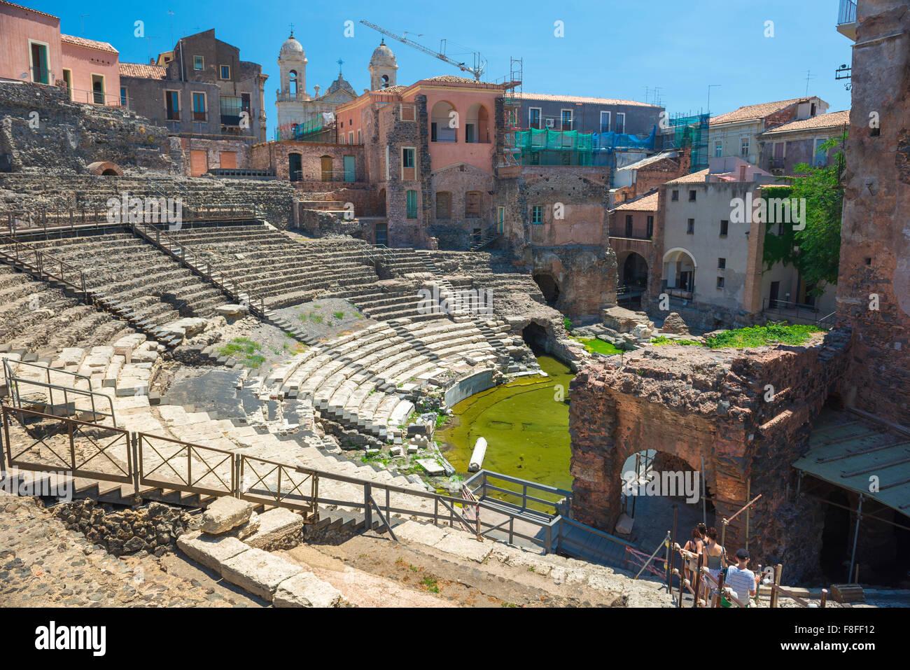 Catania Teatro Romano, auditorium of the ancient Roman theatre (theater) in the centre of Catania, Sicily. - Stock Image