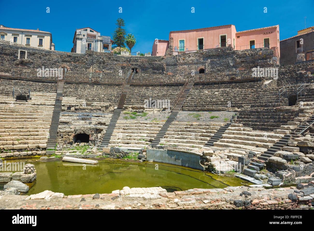 Roman theatre Catania, view of the auditorium of the Teatro Romano in the centre of the city of Catania, Sicily. - Stock Image
