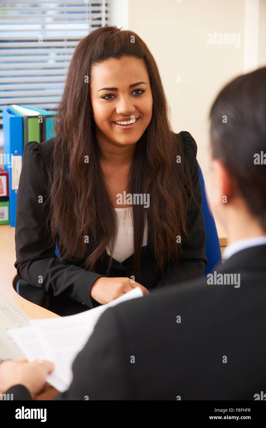 Teenage Girl Being Interviews For Job Stock Photo