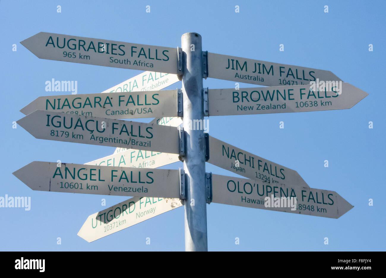 signpost with the most famous waterfalls of the world, Wegzeiger zu den beruehmtesten Wasserfaellen der Welt - Stock Image
