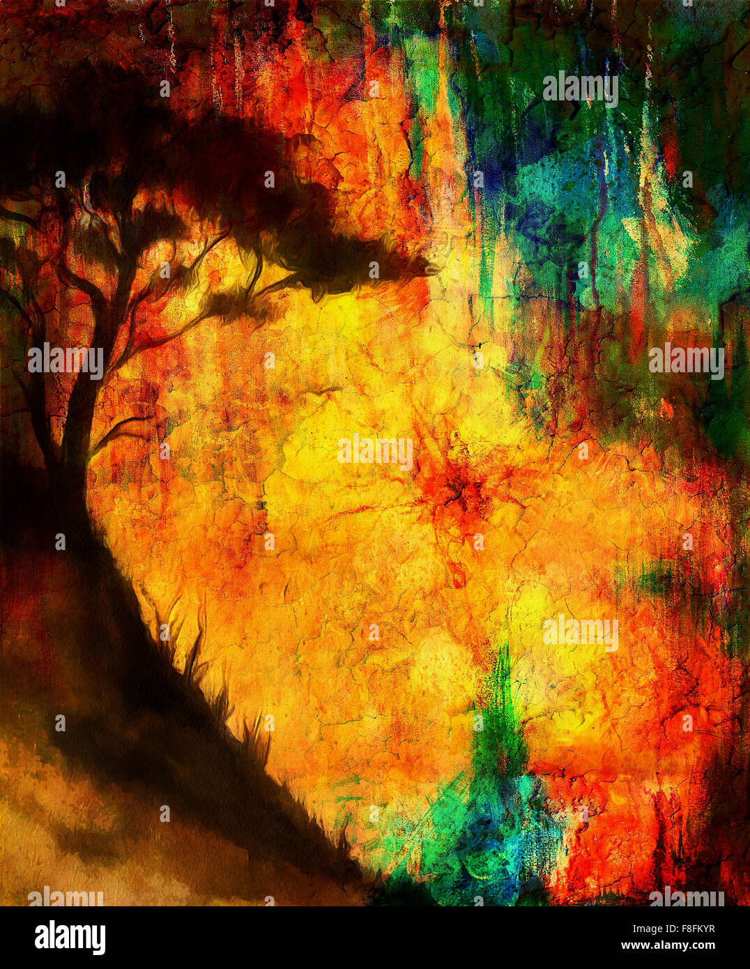 Painting Sunset And Tree Wallpaper Landscape Color Collage Abstract Grunge Background With Spots Red Orange Yellow Co