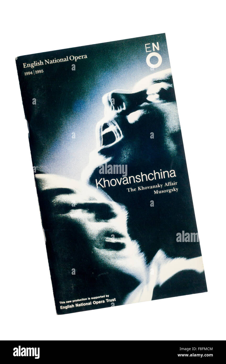 Programme for 1994 English National Opera production of Khovanshchine, The Khovansky Affair, by Musorgsky at The - Stock Image