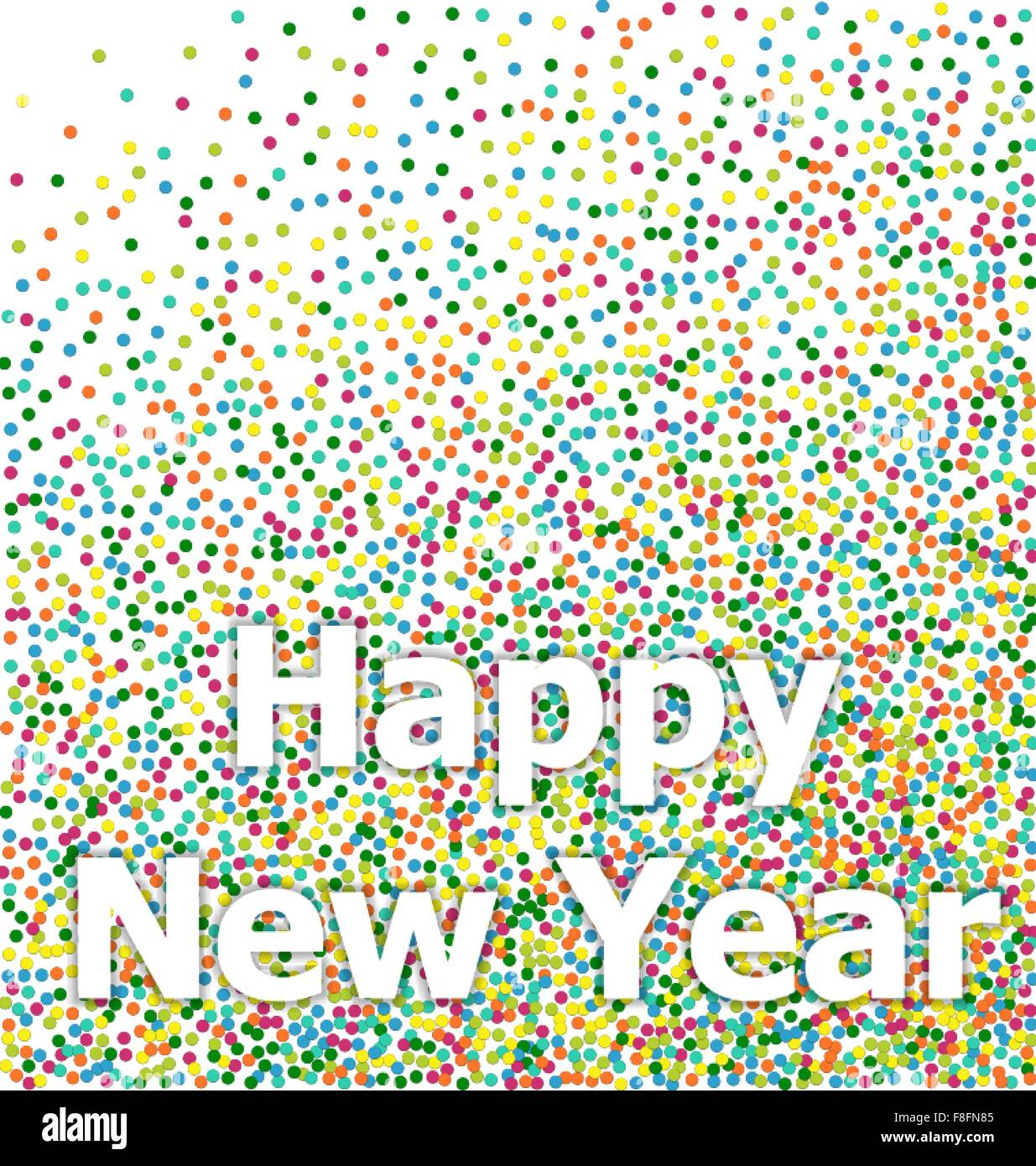 happy new year lettering colorful confetti background