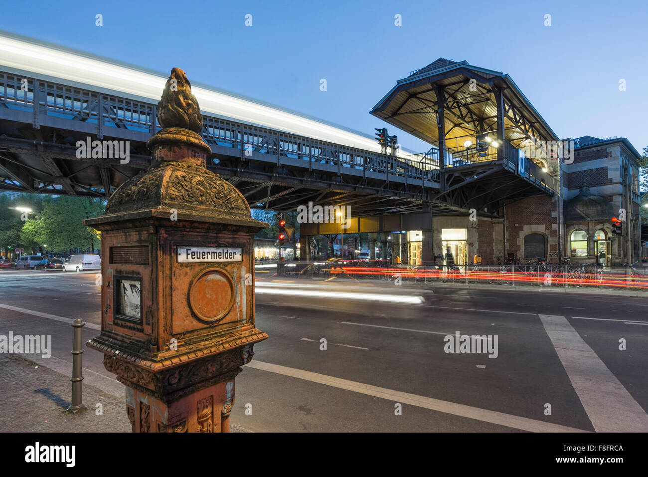 Fire alarm Box  at Metro Station Schlesisches Tor, Kreuzberg, Berlin - Stock Image