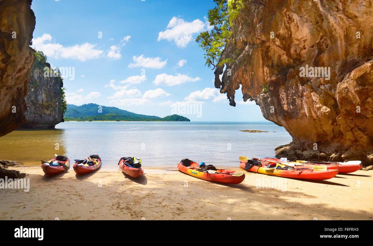 Thailand - Krabi province, Phang Nga Bay, canoe trip - Stock Image