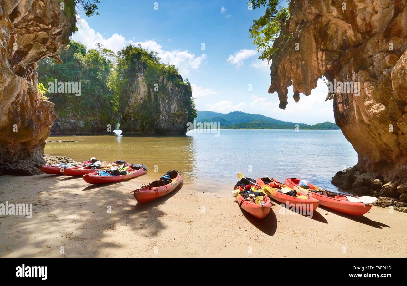 Thailand - Krabi province, tropical Phang Nga Bay, canoe trip - Stock Image