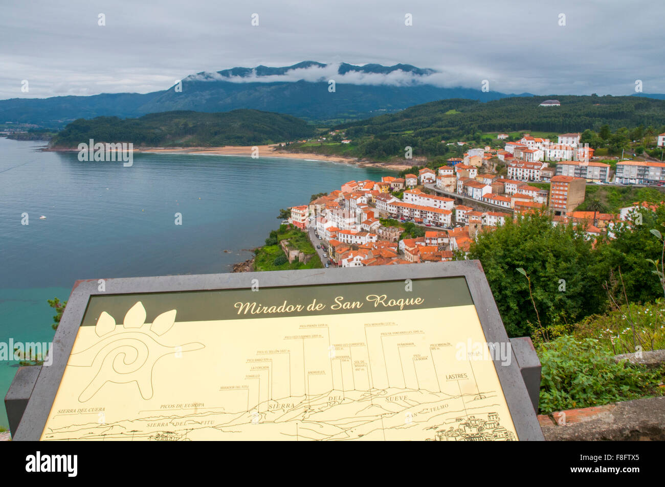 Overview from San Roque viewpoint. Lastres, Asturias, Spain. - Stock Image