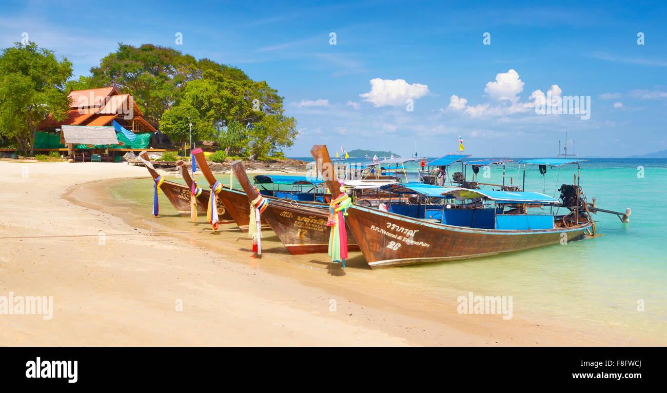 Thailand - Phi Phi Island, Phang Nga Bay, long tail boats - Stock Image