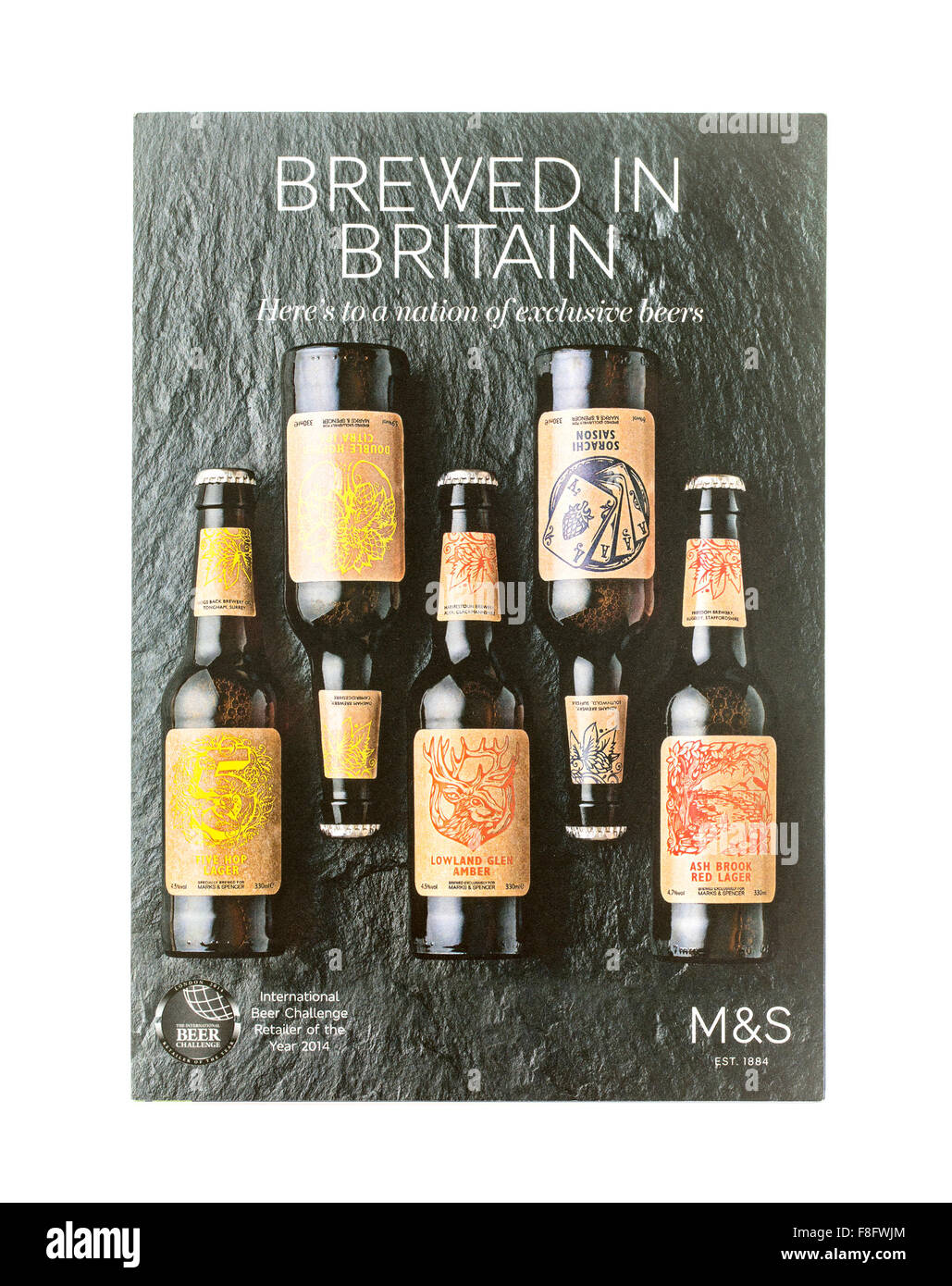 Marks and Spencer Brewed in Britain, Exclusive Beers on a White Background - Stock Image