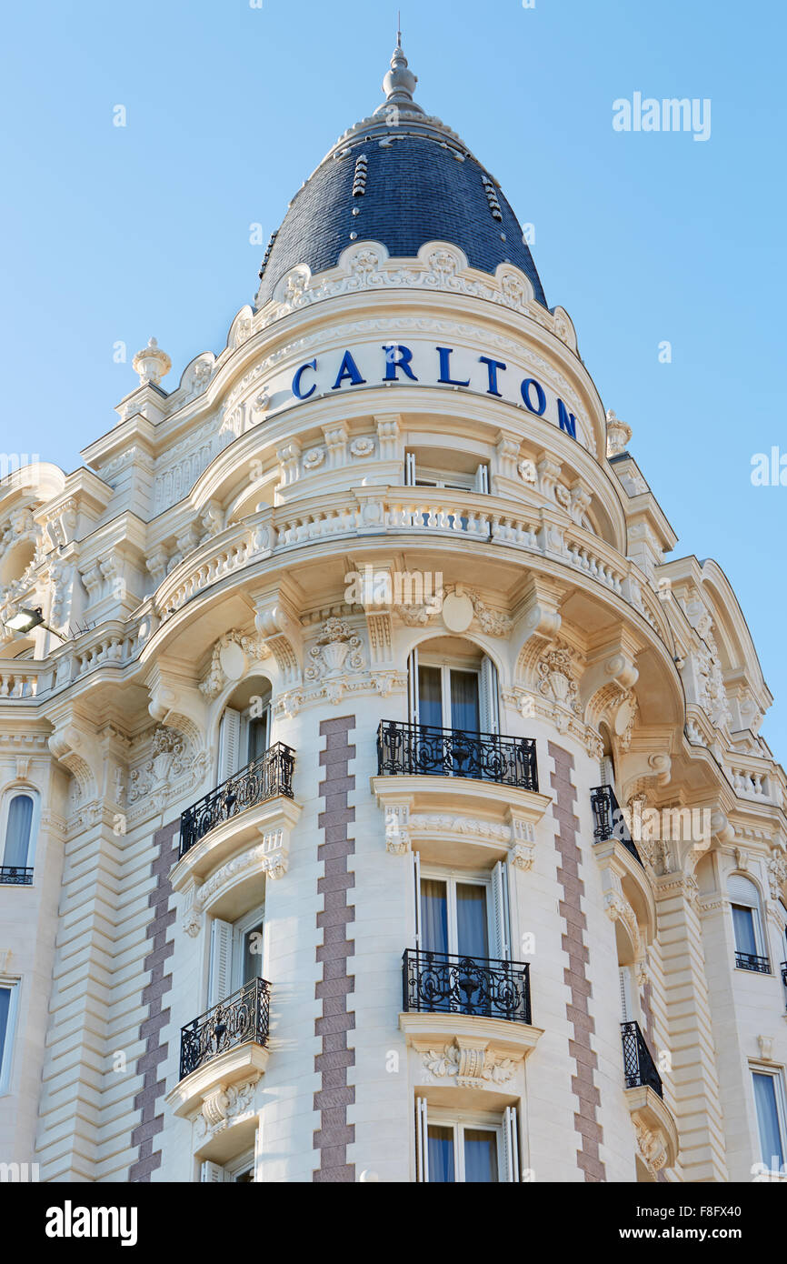 Luxury hotel InterContinental Carlton, located on the famous 'La Croisette' boulevard in Cannes, French - Stock Image