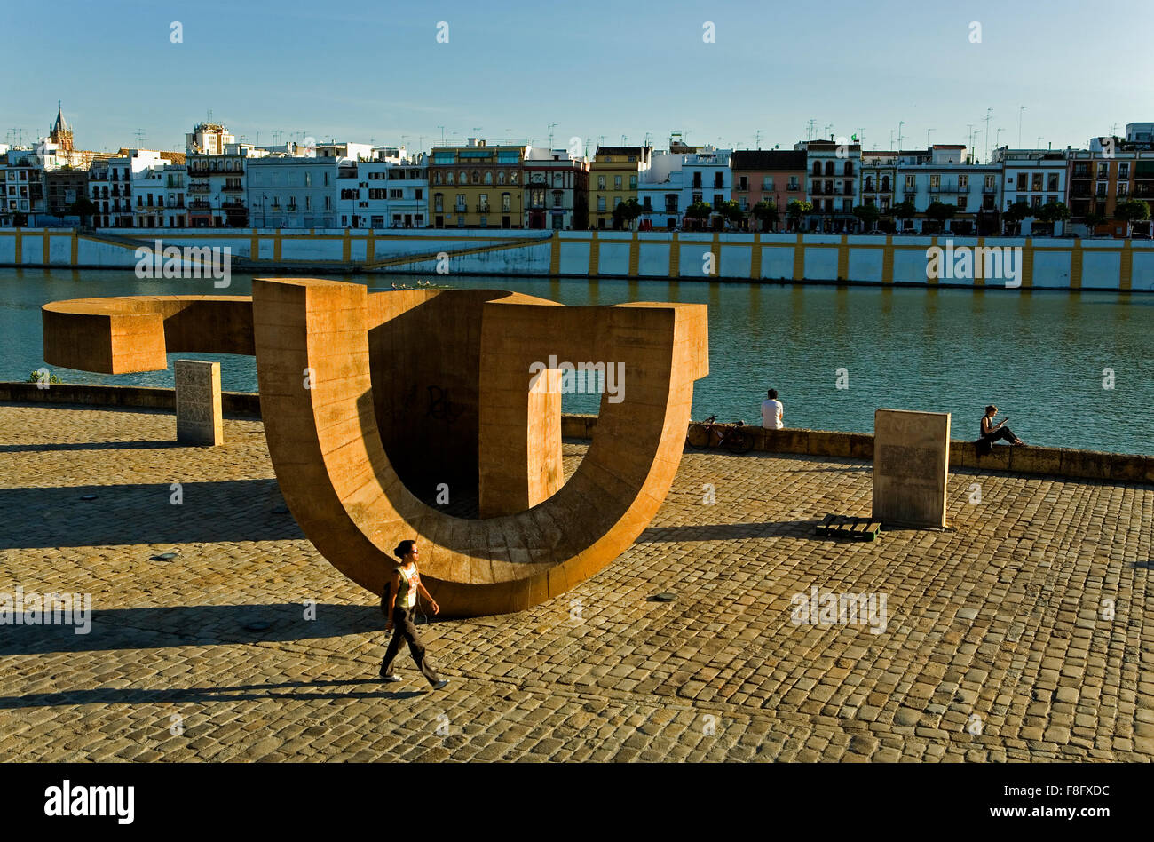 Monument to Tolerance (by Eduardo Chillida) at paseo Alcalde Marqués del Contadero.On the bank of the river - Stock Image