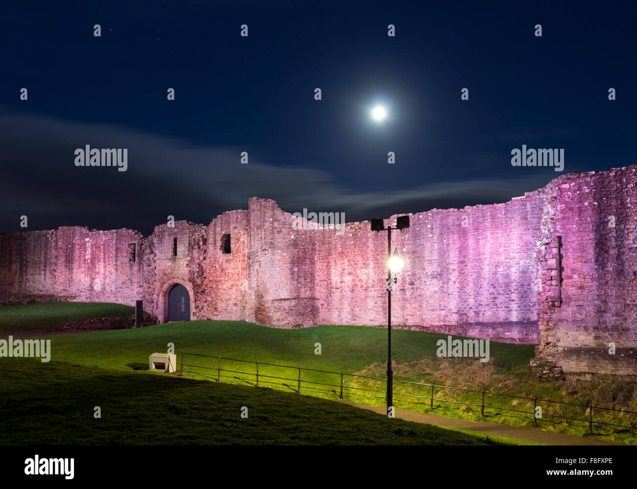 The Walls of Barnard Castle Illuminated by Colourful LED Lighting, Teesdale County Durham UK - Stock Image