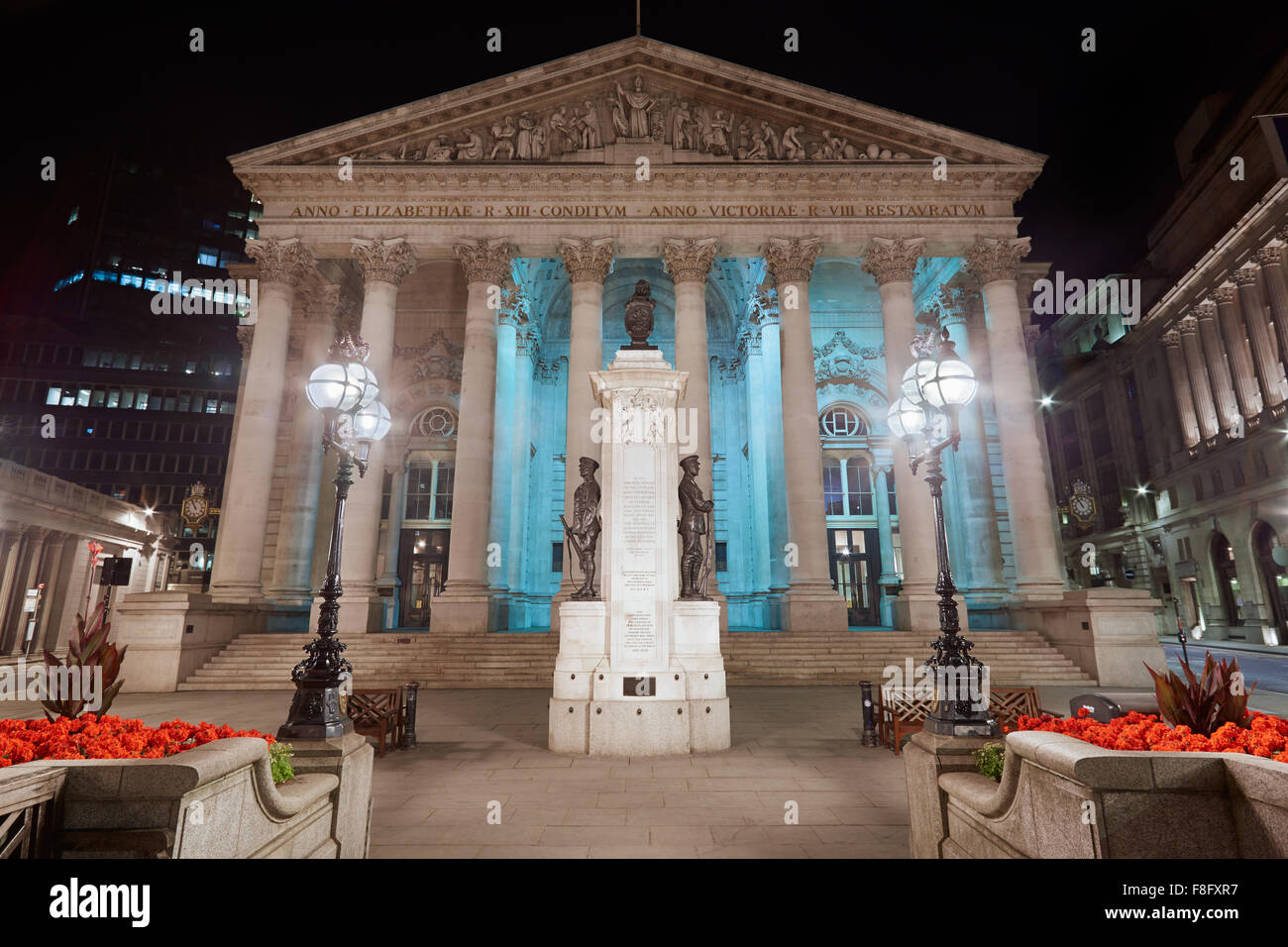 London Royal Exchange, luxury shopping center and square at night - Stock Image