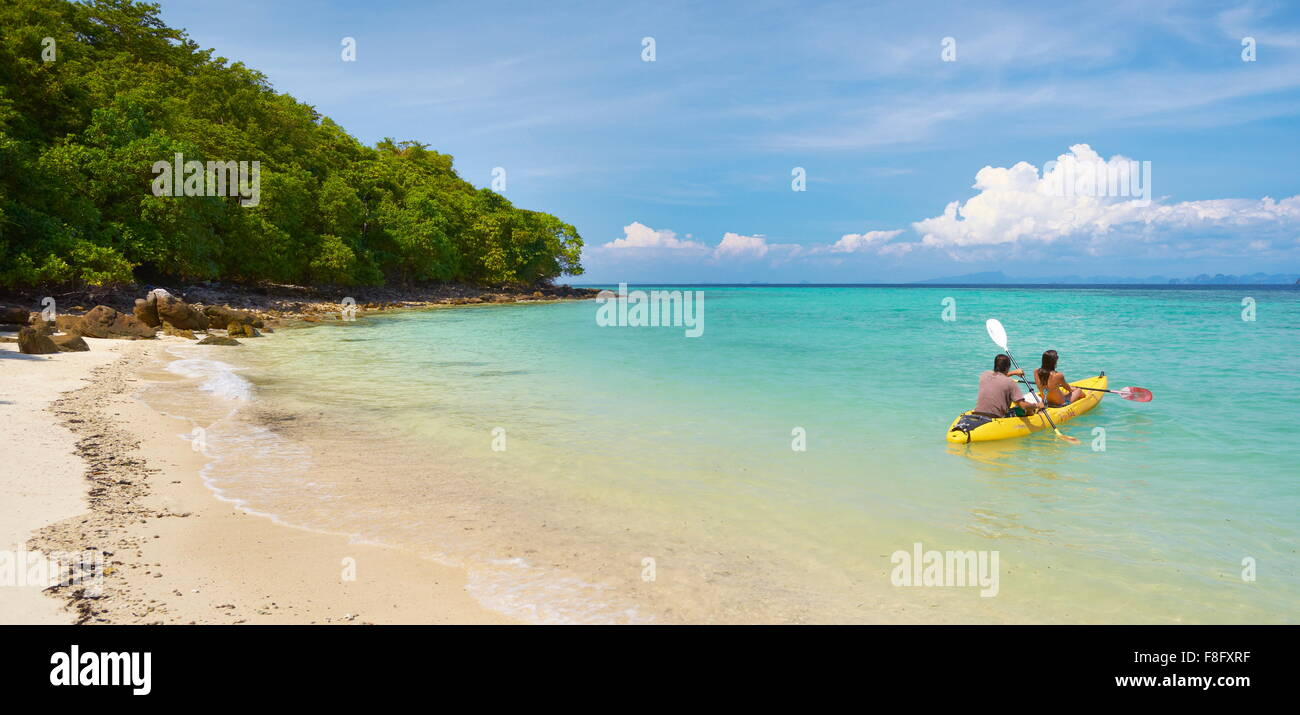 Thailand - Phi Phi Island, Phang Nga Bay, tourists on canoe Stock Photo