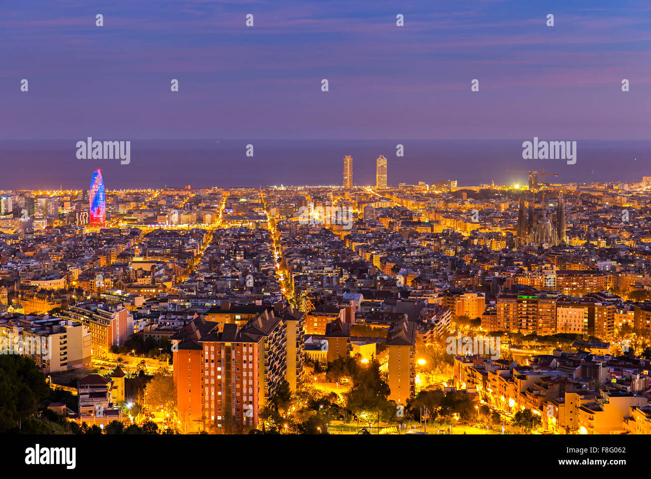 Barcelona skyline in the afternoon at Blue Hour Stock Photo