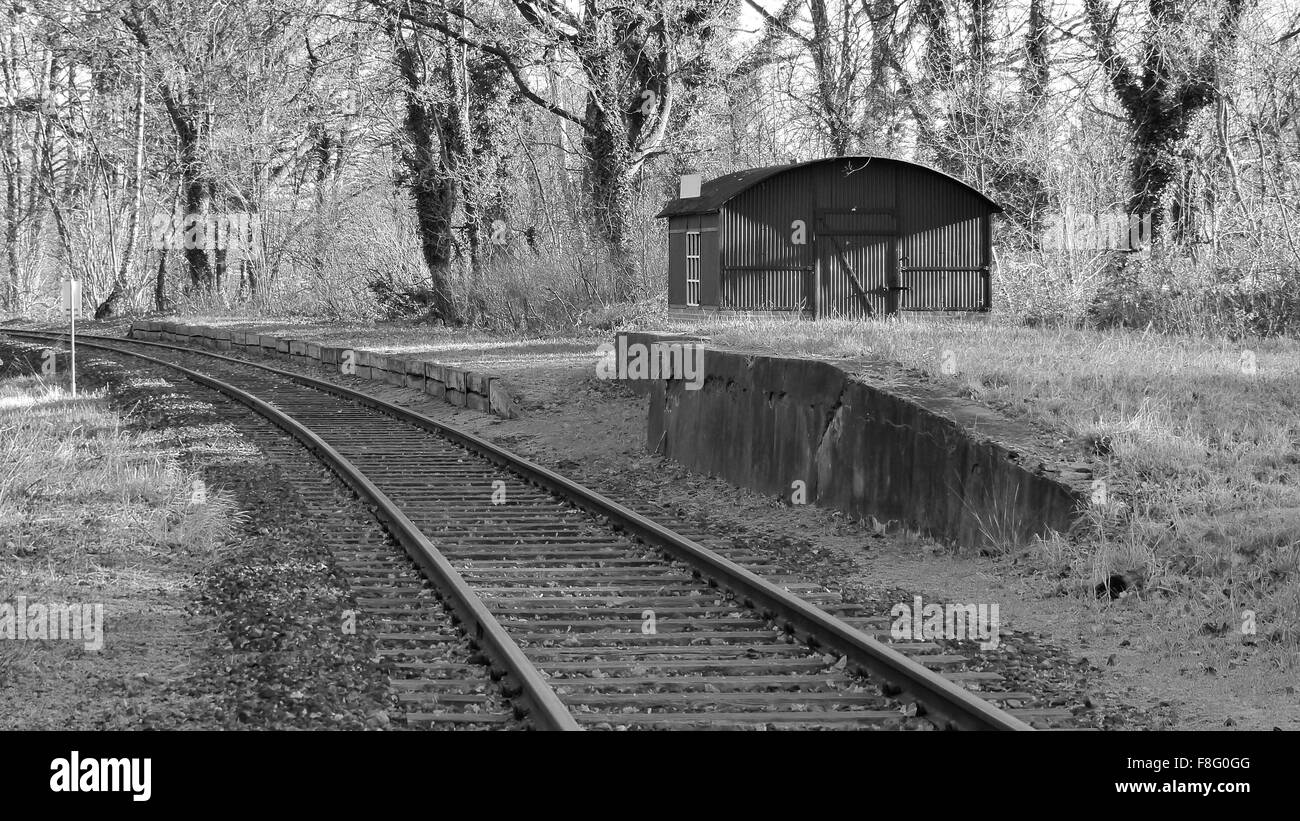 Old Railway station in black and white - Stock Image