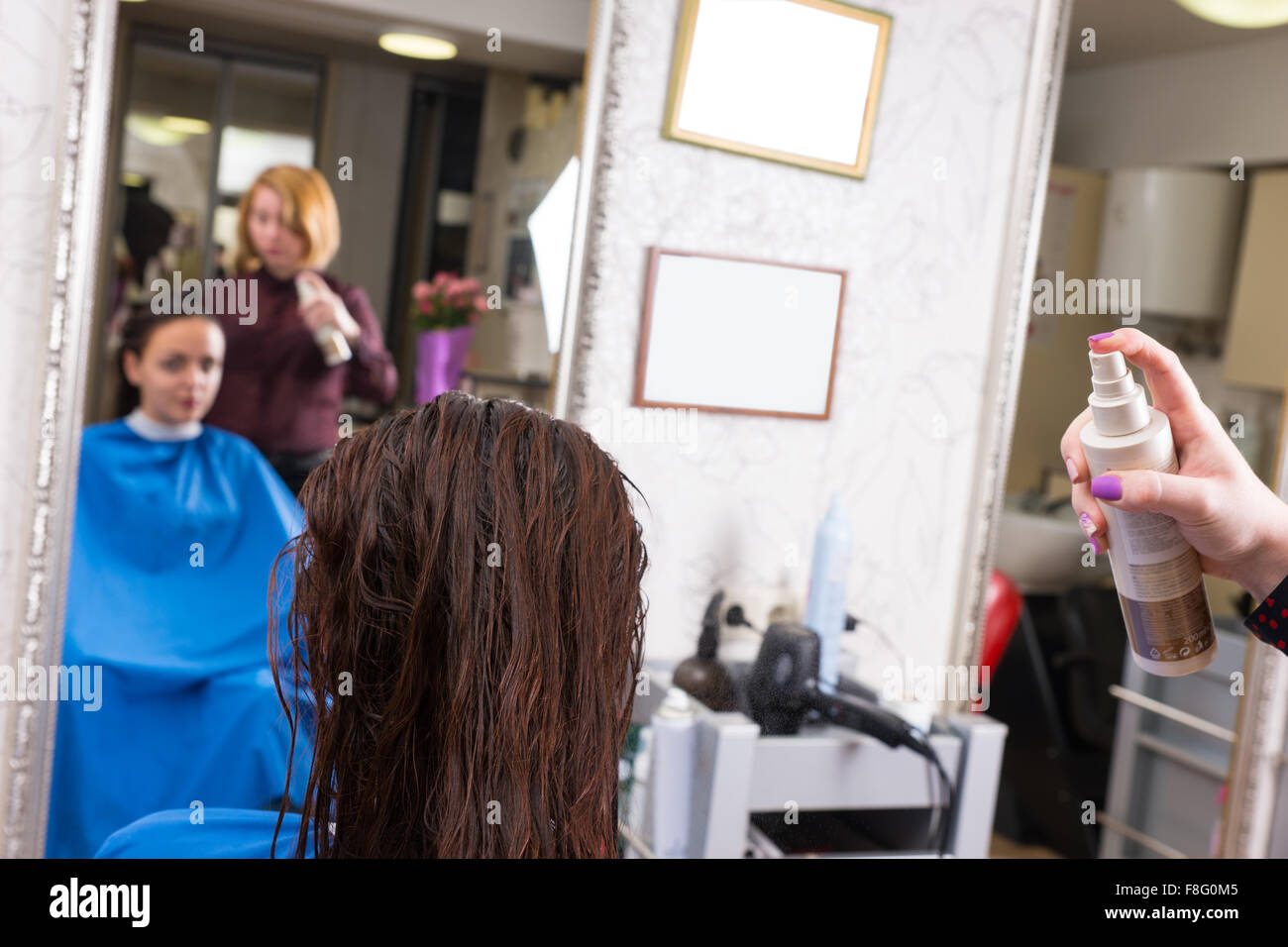 Close Up Rear View of Stylist Spraying Product onto Wet Hair of Brunette Female Client Seated in Salon Chair with - Stock Image
