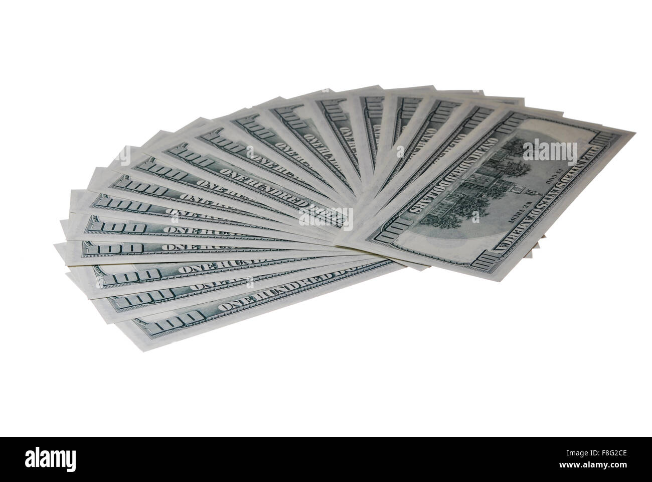 Hundred dollar bill folded like a fan on a white background - Stock Image