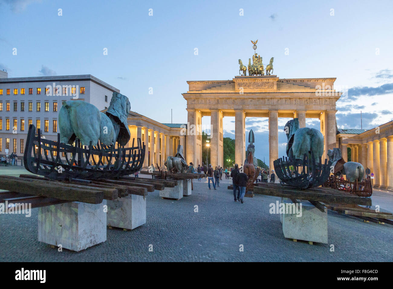 Lapidarium , Open Air Exebition by Gustavo Aceves at Paris Sqaure, Brandenburg Gate, Berlin - Stock Image