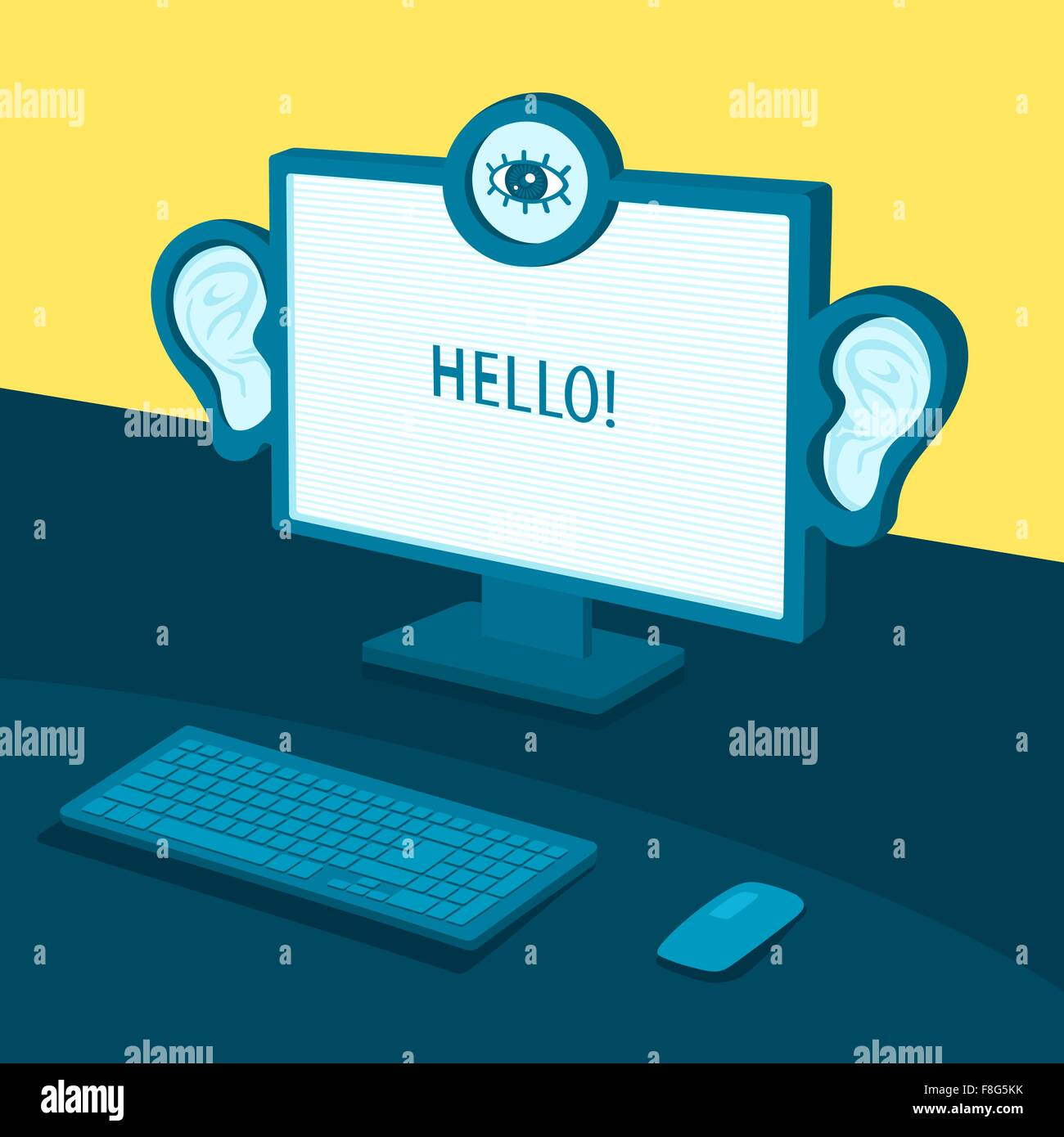 Computer spy on the user - Stock Vector
