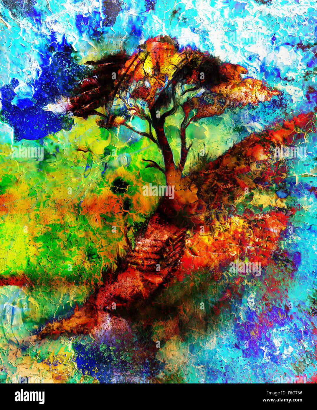 Painting tree, wallpaper landscape, color collage. and abstract ...