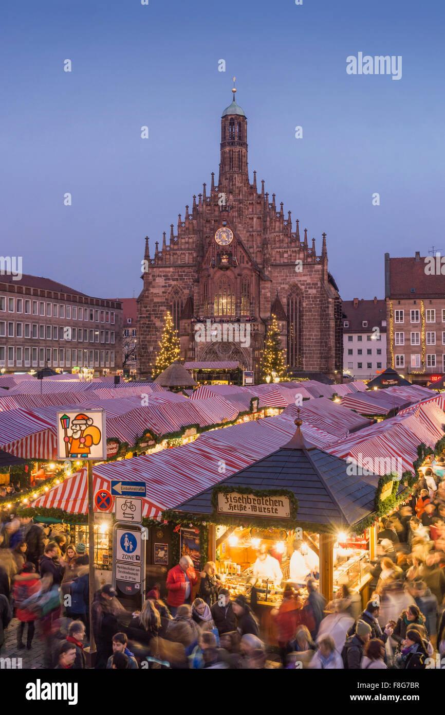 Christmas Market , Christkindlesmarkt,  Hauptplatz, Nuremberg , Nürnberg, Germany Stock Photo