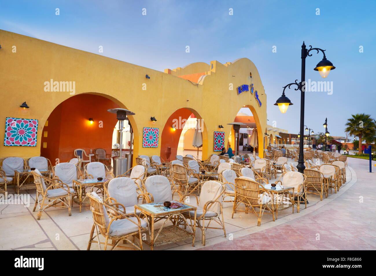 Egypt - Hurghada, Marina, promenade by night - Stock Image