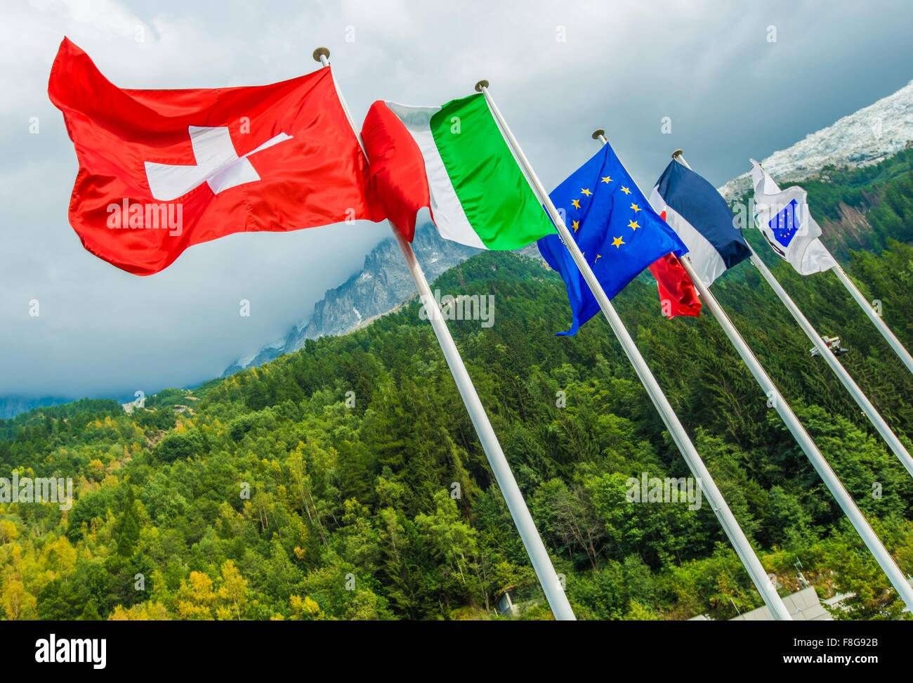 European Union National Flags. Switzerland, Italy, European Union Flag and France. Mont Blanc Tunnel. Chamonix, - Stock Image