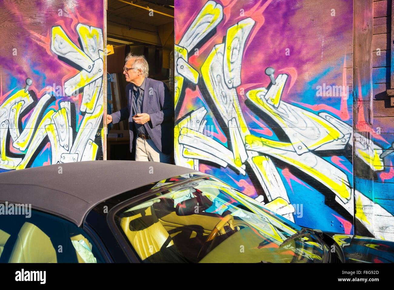 Rear door, Parker Street Studios, 2014 Eastside Culture Crawl, Vancouver, British Columbia, Canada, - Stock Image