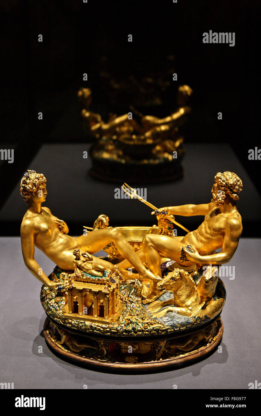 The Cellini Salt Cellar (known as the 'Saliera', Italian for salt cellar) in the Kunsthistorisches Museum - Stock Image