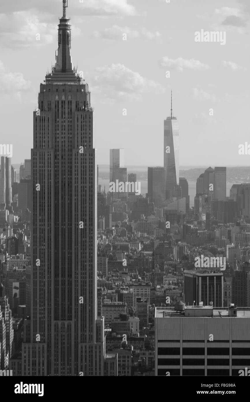 The empire state building with One World Trade Center in the background in black and white, New York City - Stock Image