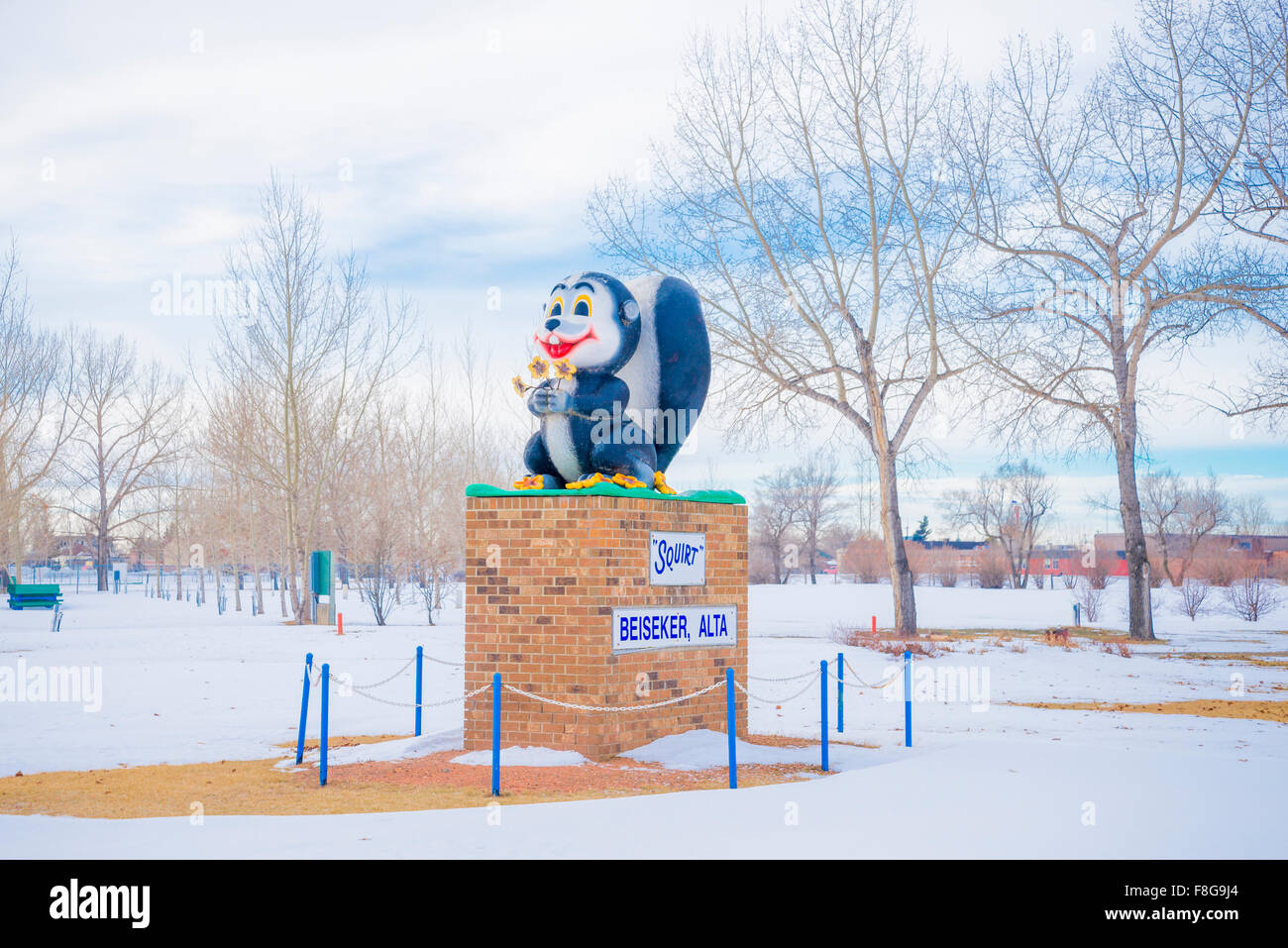 Squirt the Squirell mascot,  Beiseker, Alberta, Canada - Stock Image