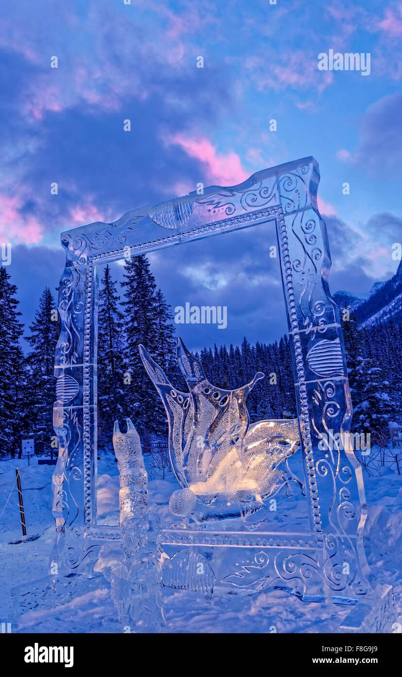 Ice sculpture, Self Esteem, Ice Magic Festival, Lake Louise, Banff National Park, Alberta, Canada - Stock Image