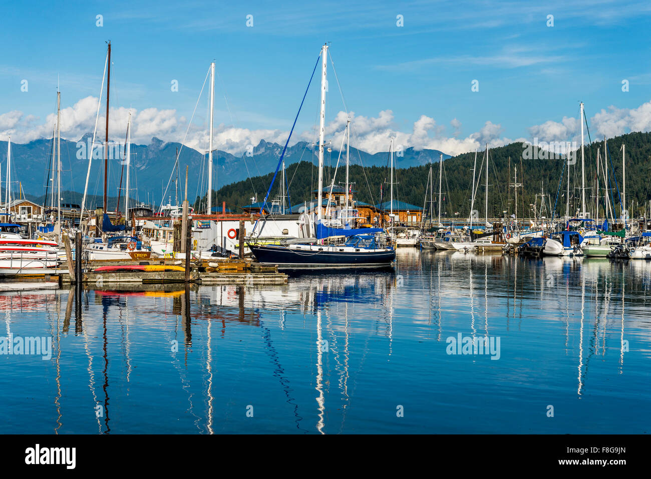 Sailboats, Gibsons Landing, Sunshine Coast, ,British Columbia, Canada - Stock Image