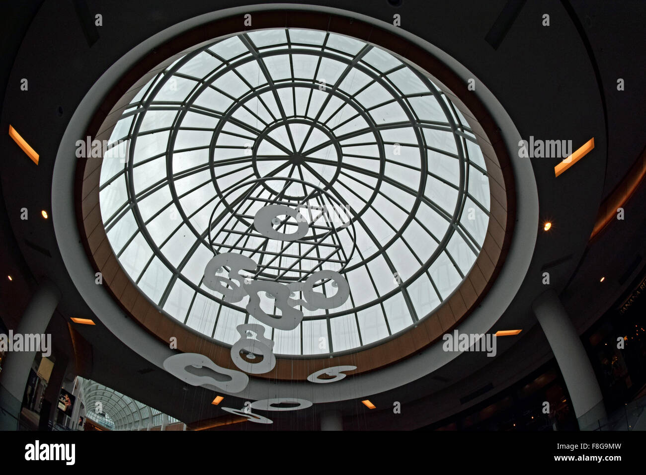 A mobile hanging at the Roosevelt Field indoor mall in Garden City, Long Island, New York - Stock Image