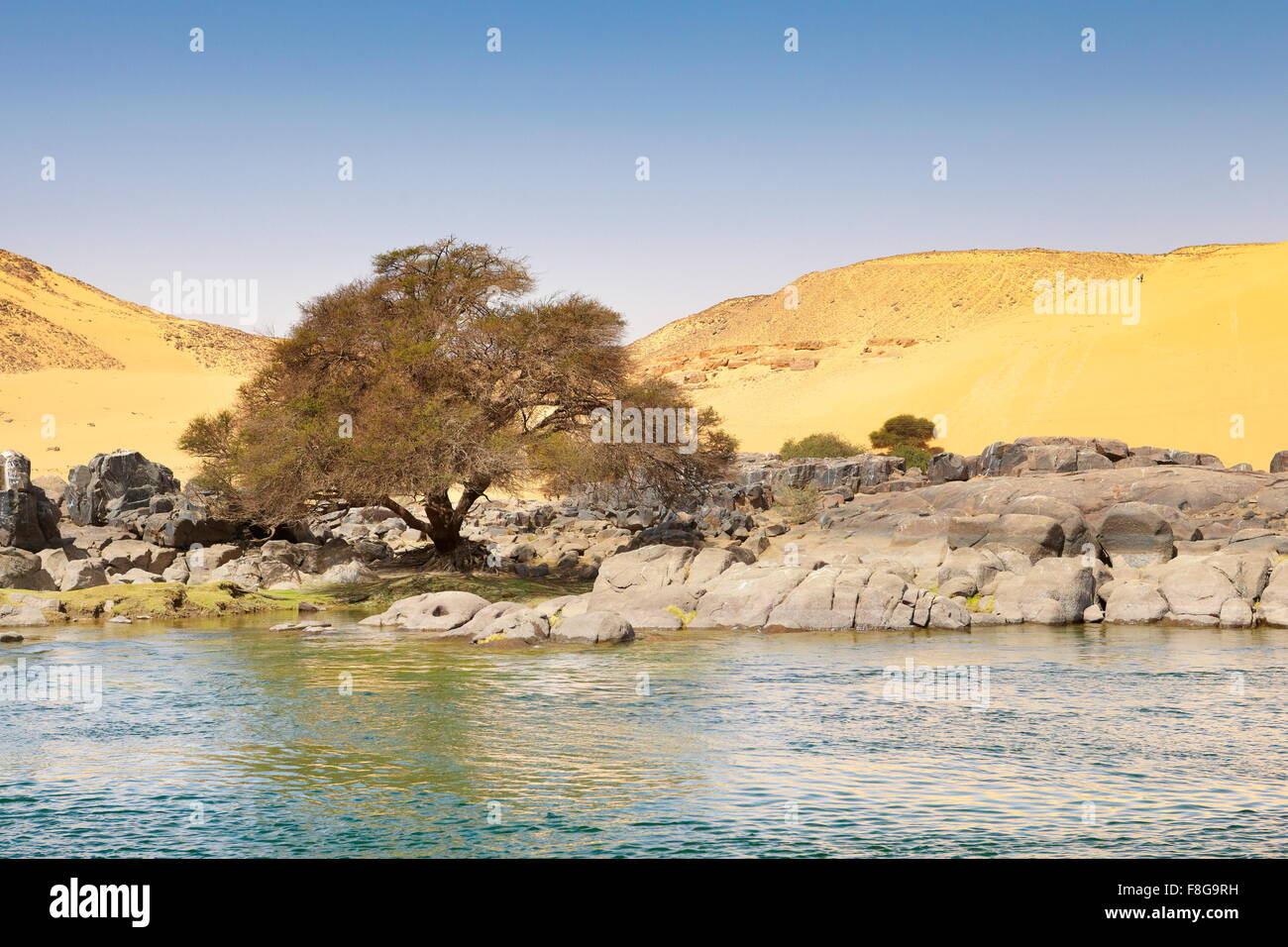 Egypt - bank of the Nile River, protected area of the First Cataract - Stock Image