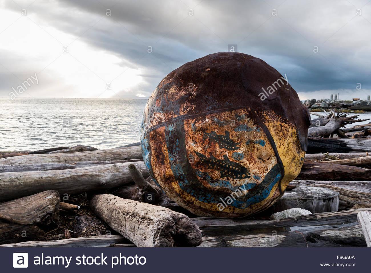 Large float or buoy washed up on shore, Steveston, Richmond, BC, canada - Stock Image