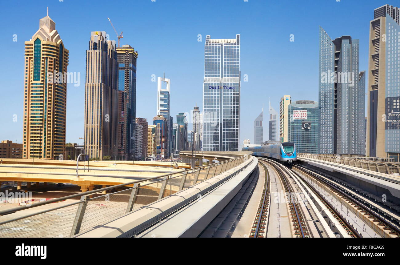 Dubai - metro route, United Arab Emirates - Stock Image