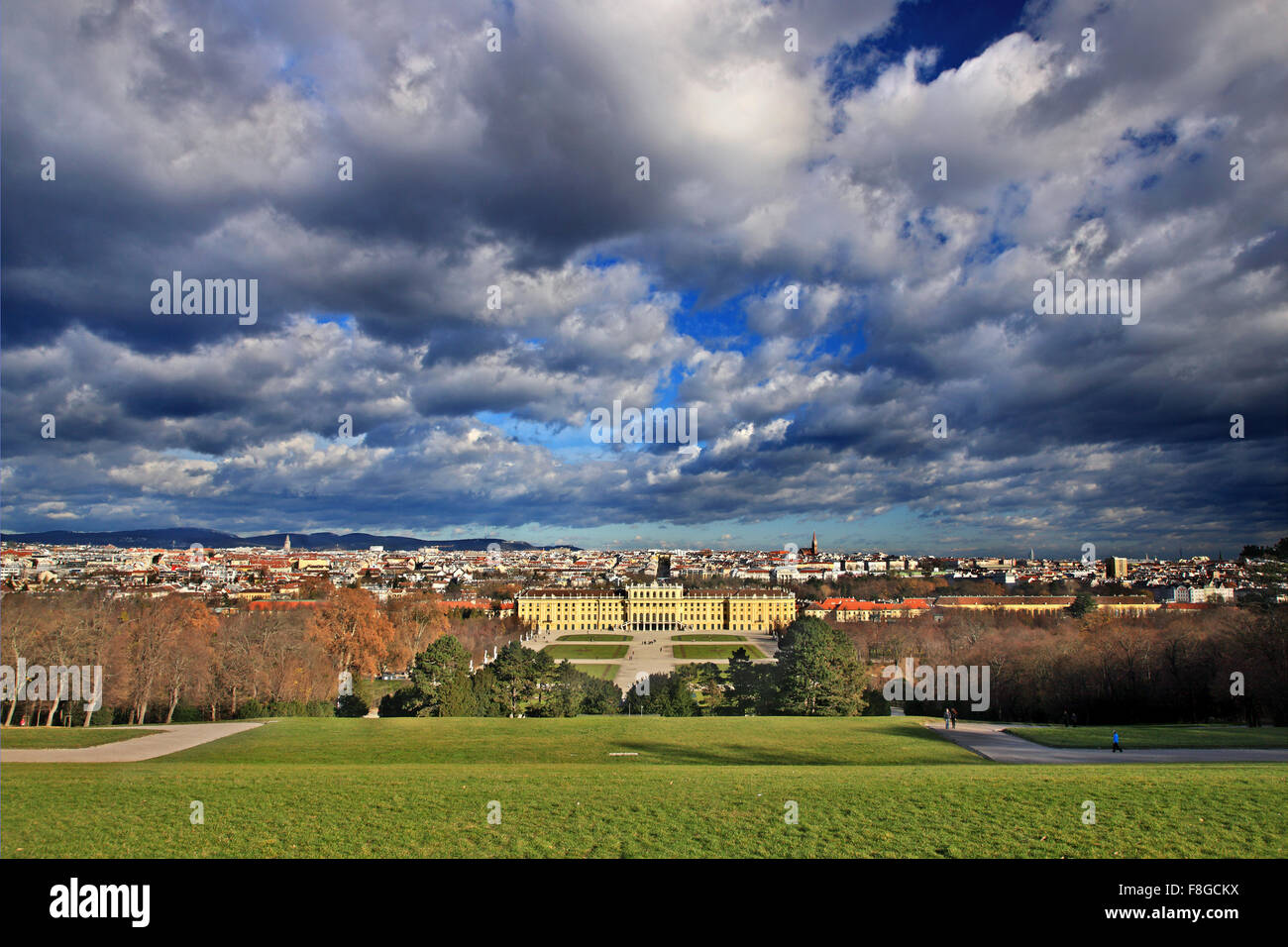 View of the Schönbrunn, summer palace of the Habsburgs and the city of Vienna from the Gloriette. - Stock Image