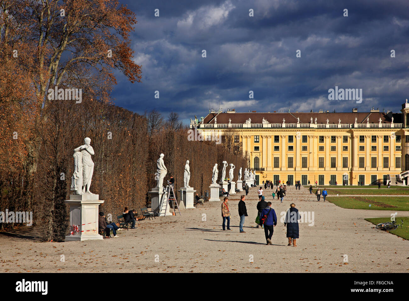 View from the gardens of Schönbrunn palace, summer palace of the Habsburgs Vienna, Austria. - Stock Image