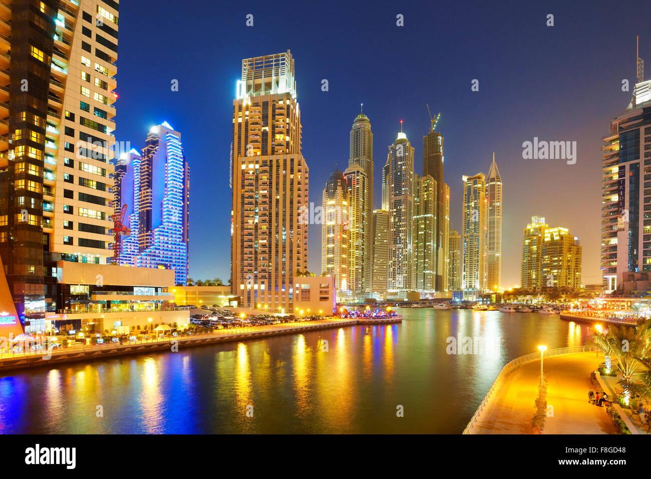 Dubai evening skyline - Marina, United Arab Emirates - Stock Image