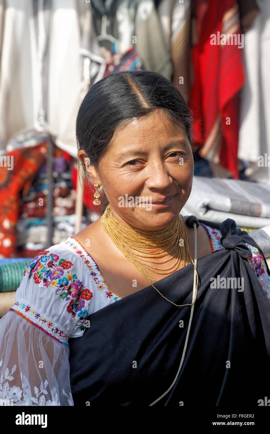 The indigenous Otavaleños create beautiful textiles, usually