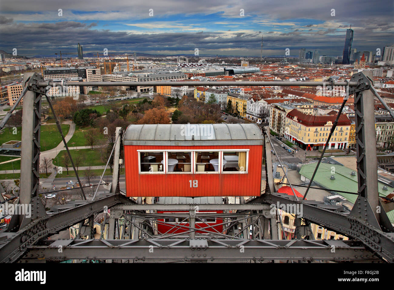 View of Vienna from The famous 'Riesenrad' (remember 'The Third Man'?), the giant Ferris wheel at - Stock Image