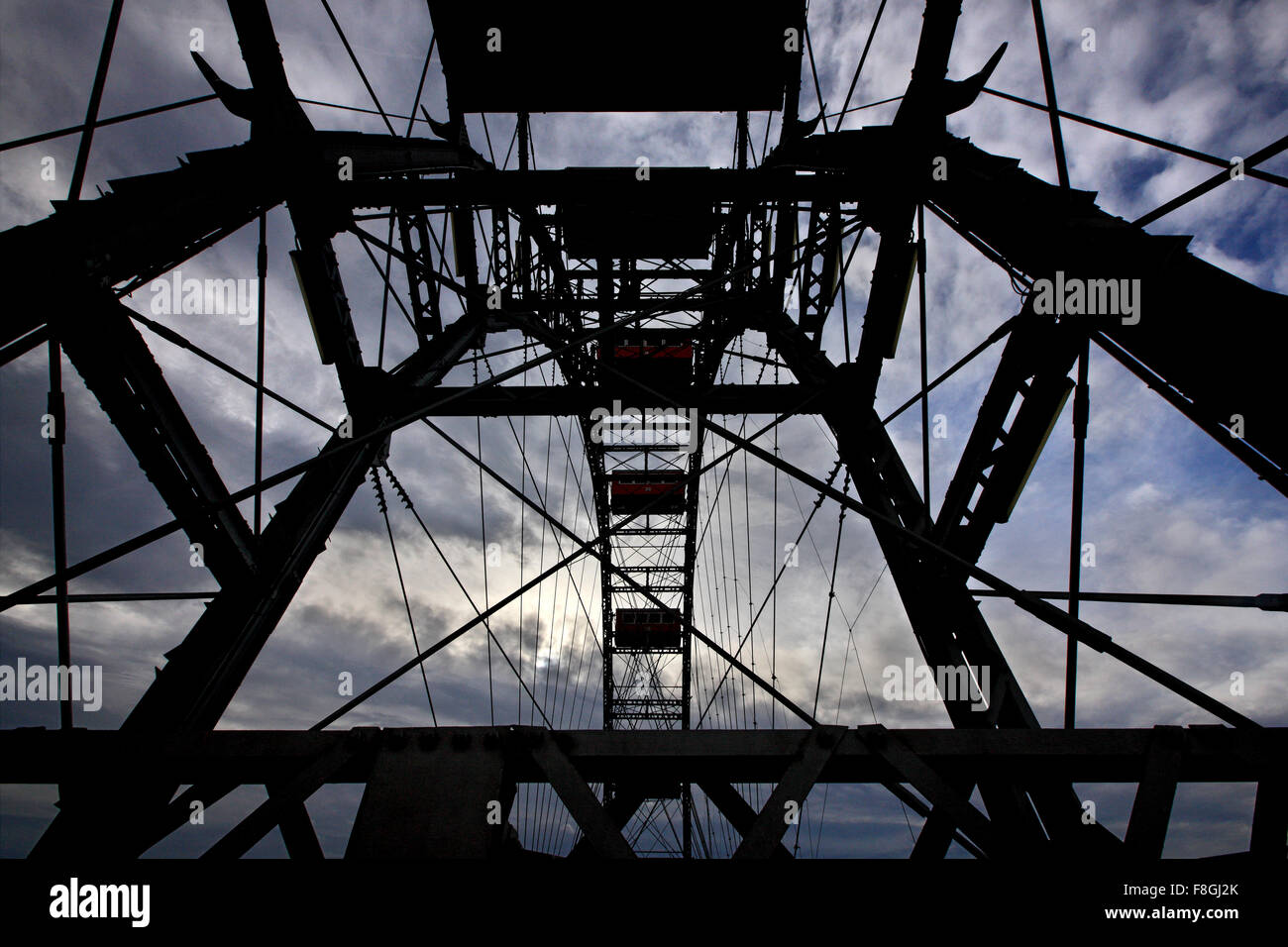 The famous 'Riesenrad' (remember 'The Third Man'?), the giant Ferris wheel at Prater park, Vienna, - Stock Image